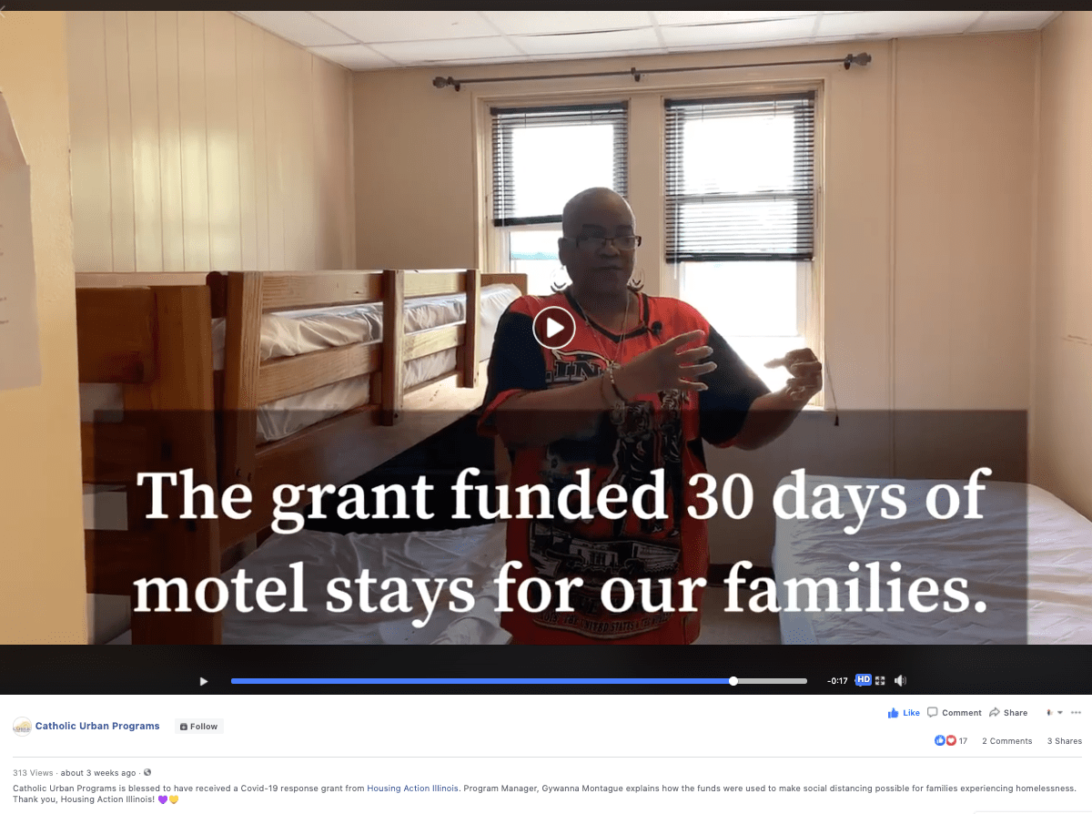 "Video still of Gywanna Montague talking that reads "" The grant funded 30 days of motel stays for our families"""