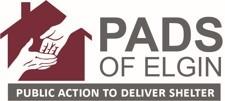 "PADS of Elgin logo - ""Public Action to Deliver Shelter"""