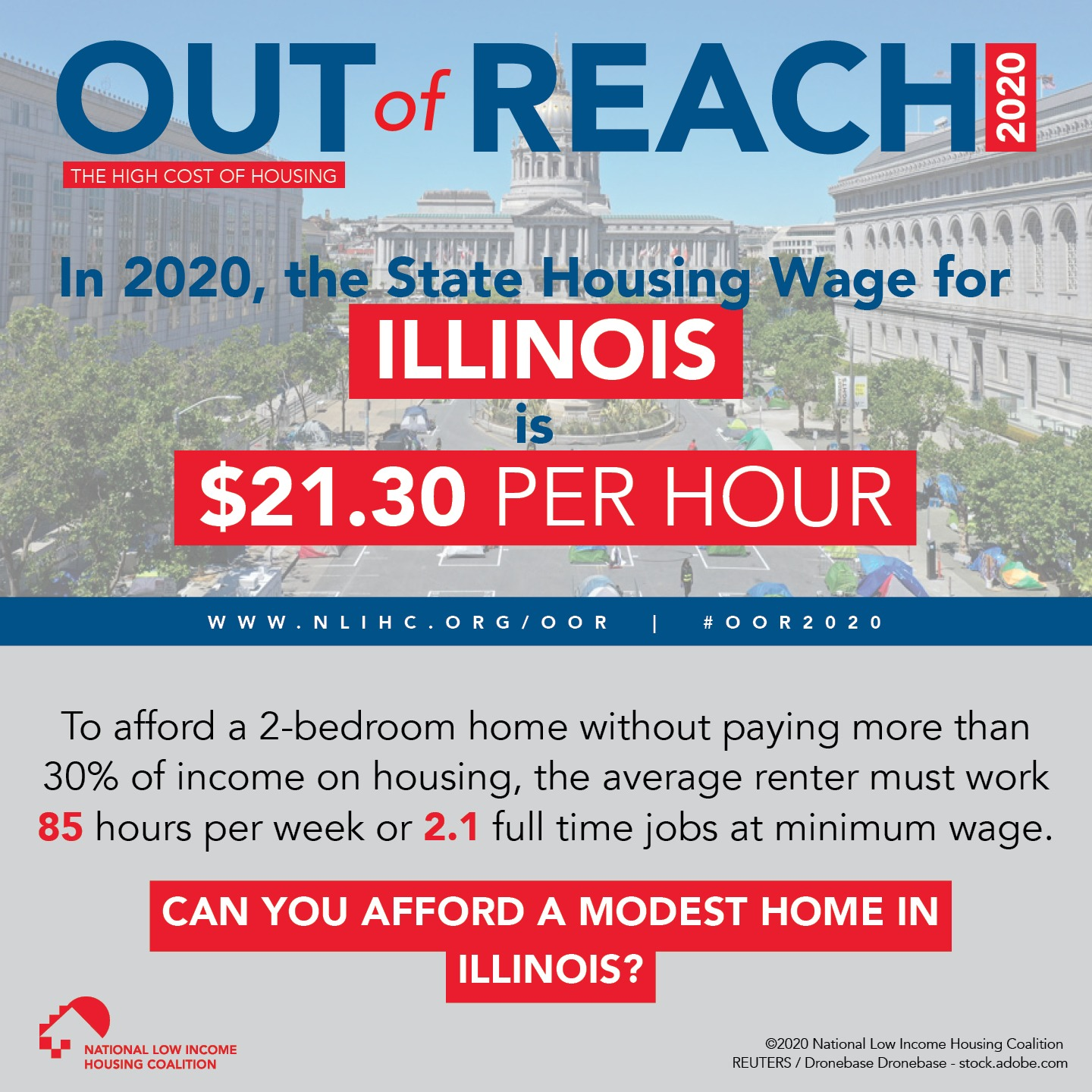 Out of Reach - Illinois Housing Wage is $21.30