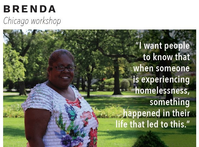 "Woman named Brenda with quote ""I want people to know that when someone is experiencing homelessness, something happened in their lives that led them to this"""