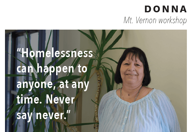 "Woman named Donna with quote ""Homelessness can happen to anyone at any time. Never say never."" over image."