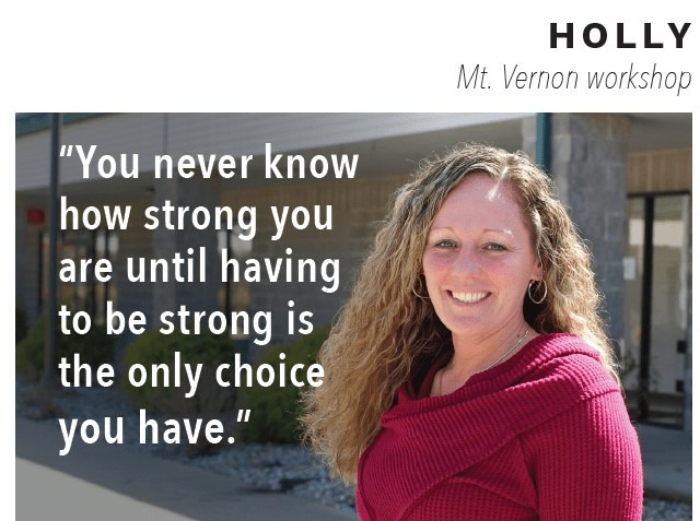 "Woman named Holly with quote"" You never know how strong you are until having to be strong is the only choice you have"" over image."
