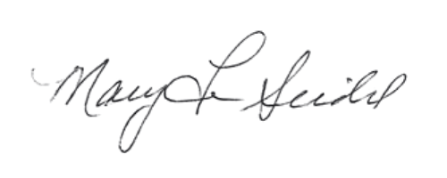 Signature for Mary Lu Seidel