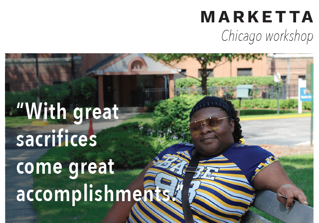"Woman named Marketta with quote ""With great sacrifices comes great accomplishments"" over image."