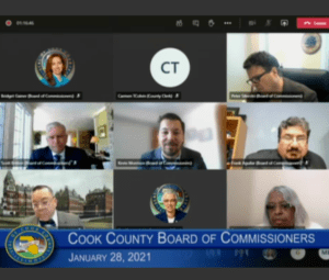 Screengrab of commissioners during virtual Cook County Board meeting on January 28, 2021