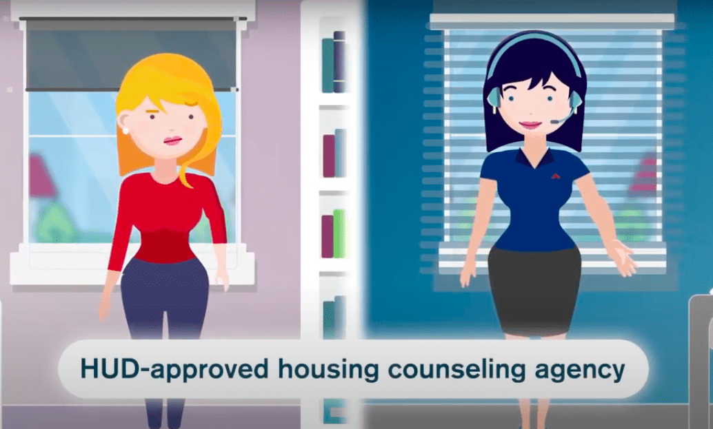 Cartoon women talks on the phone with another cartoon woman. Caption reads: HUD-approved housing counselor agency