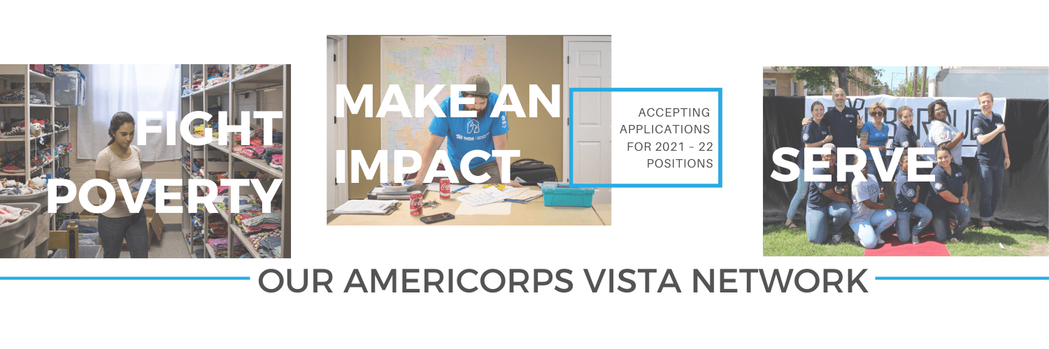 Banner image inviting people to apply to AmeriCorps VISTA positions, showing photos of past VISTAs
